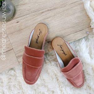 Free People Slip-on Backless Pink Velvet loafers